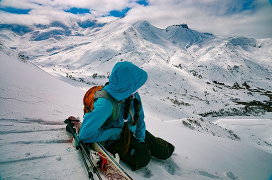 climbing mount Kamchatka winter