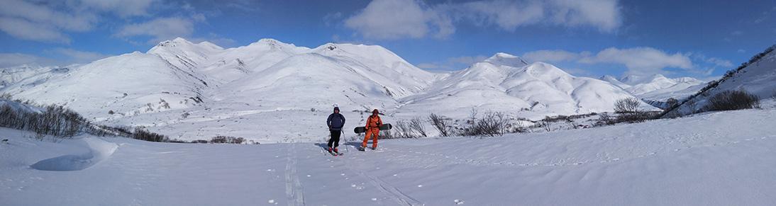 Skiing on Yagodnaya mount Kamchatka